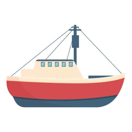 Beautiful fishing boat icon, cartoon style