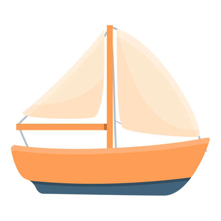 Fishing boat with sail icon, cartoon style