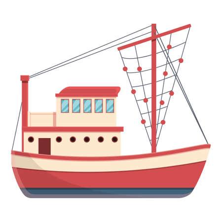 Sailing fishing boat icon, cartoon style 矢量图像