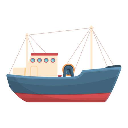 Fashionable fishing boat icon, cartoon style
