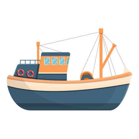 Heavy fishing boat icon, cartoon style