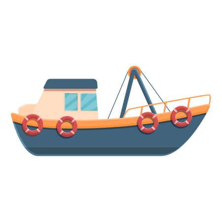Extreme fishing boat icon, cartoon style 矢量图像