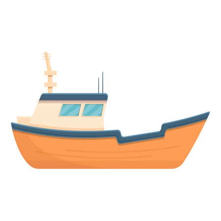Orange fishing yacht icon, cartoon style