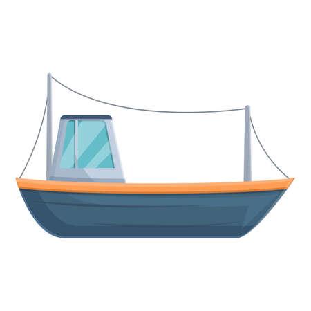 Modern fishing yacht icon, cartoon style