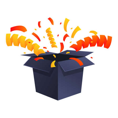 Gift surprise icon, cartoon style 矢量图像