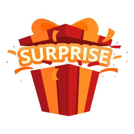 Family surprise icon, cartoon style