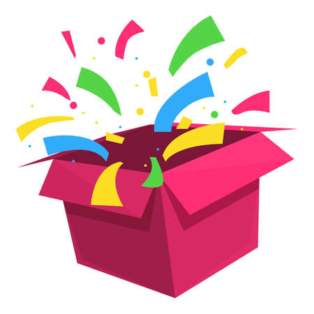 Funny surprise gift icon, cartoon style