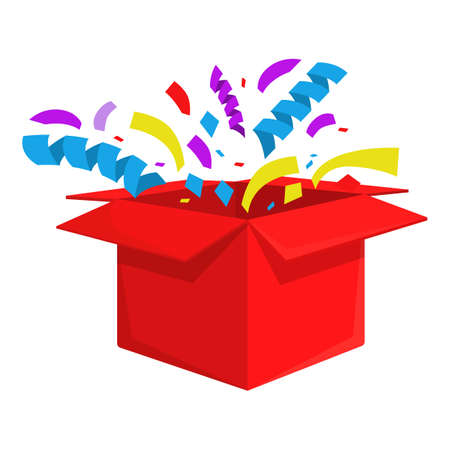 Red surprise box icon, cartoon style