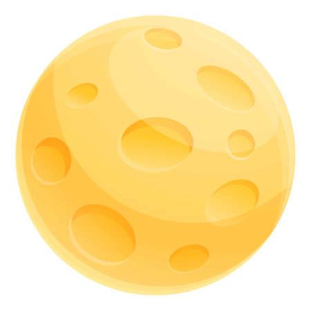Yellow moon icon, cartoon style