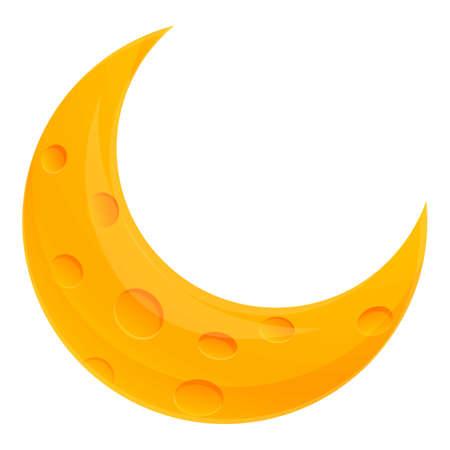 Half moon icon, cartoon style