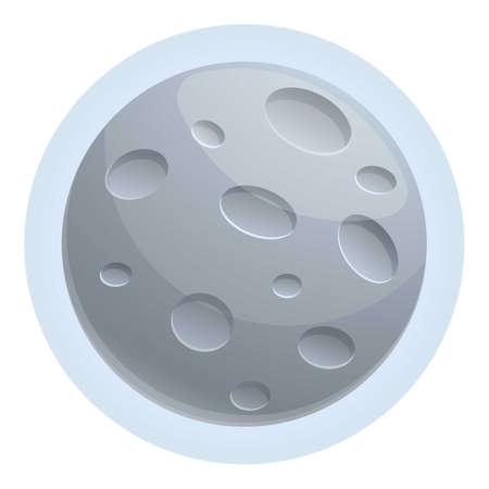 Shining moon icon, cartoon style