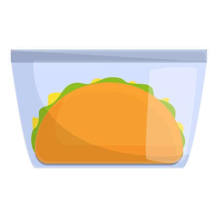 Cheeseburger lunch icon, cartoon style