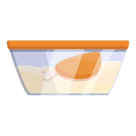 Chicken and rice lunch icon, cartoon style 矢量图像