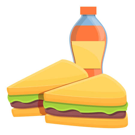 Lunch sandwiches icon, cartoon style 矢量图像