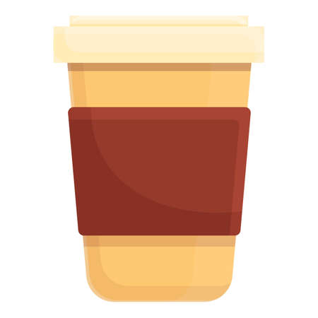 Morning coffee cup icon, cartoon style