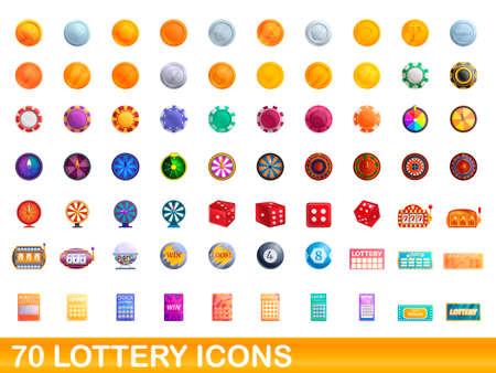 70 lottery icons set, cartoon style