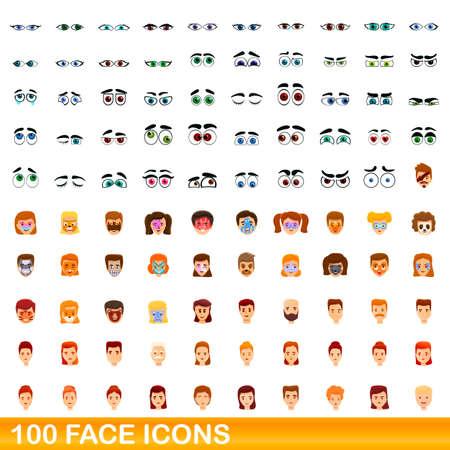 100 face icons set, cartoon style