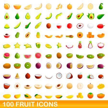 100 fruit icons set, cartoon style