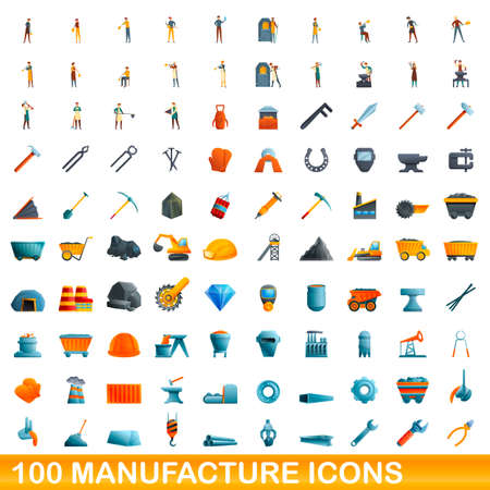 100 manufacture icons set, cartoon style