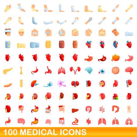 100 medical icons set, cartoon style