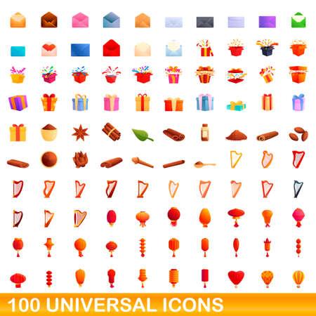 100 universal icons set, cartoon style 矢量图像