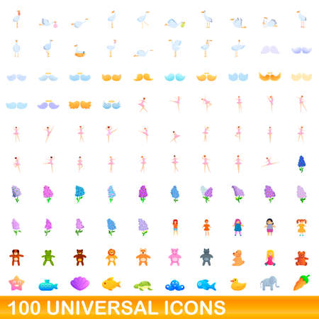 100 universal icons set, cartoon style Illustration