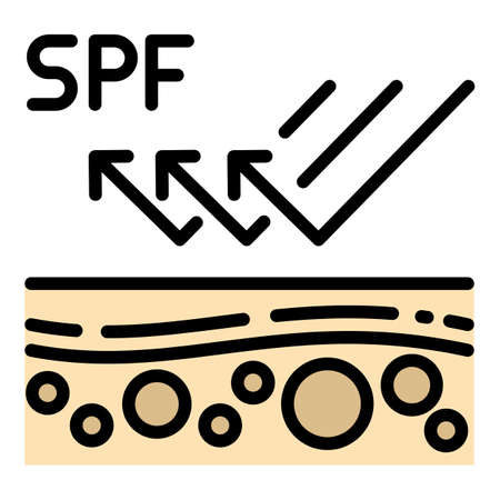 Spf protection icon, outline style