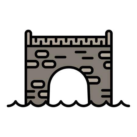 Brick bridge icon, outline style