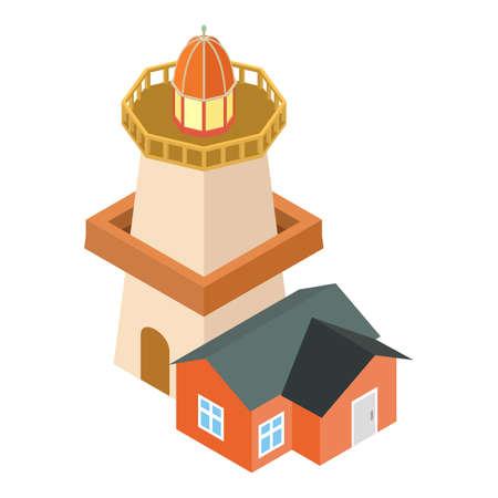 Old lighthouse icon, isometric style