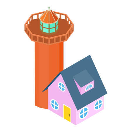 Coast lighthouse icon, isometric style