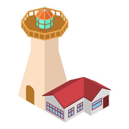 Coastal lighthouse icon, isometric style