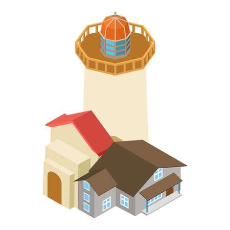 Navigation lighthouse icon, isometric style