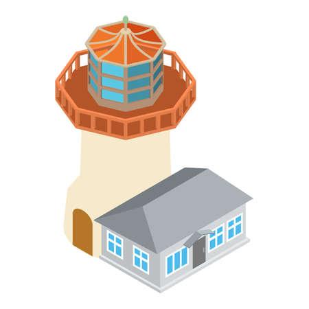 Modern lighthouse icon, isometric style