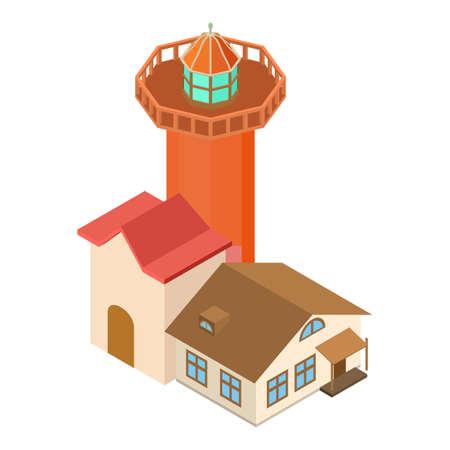 Realistic lighthouse icon, isometric style