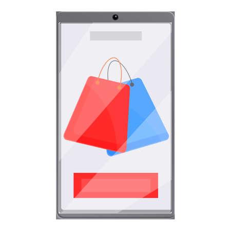 Coupon online shopping icon, cartoon style Çizim