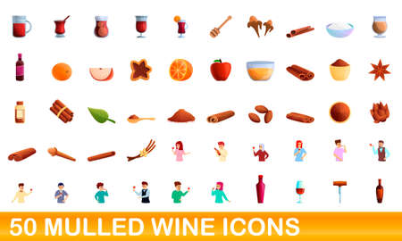 50 mulled wine icons set, cartoon style