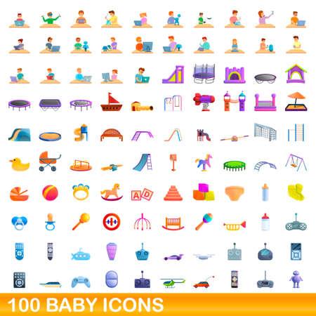 100 baby icons set, cartoon style Stock Illustratie