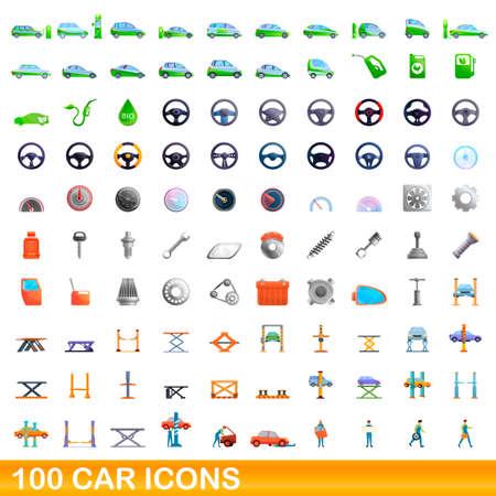 100 car icons set, cartoon style