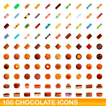 100 chocolate icons set, cartoon style Stock Illustratie