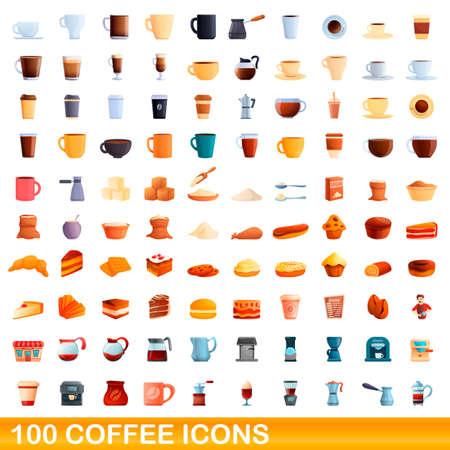 100 coffee icons set, cartoon style
