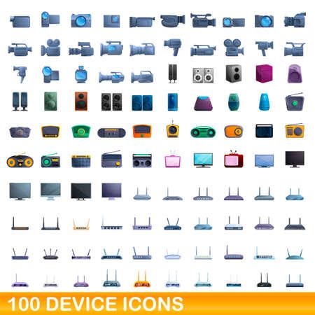 100 device icons set, cartoon style