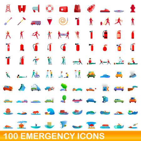 100 emergency icons set, cartoon style