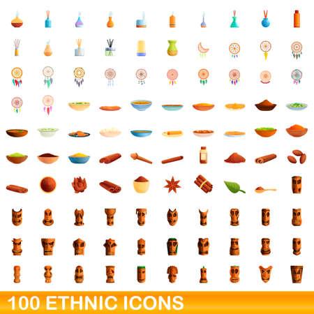100 ethnic icons set, cartoon style