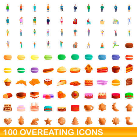 100 overeating icons set, cartoon style