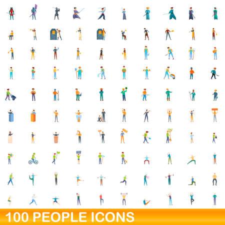 100 people icons set, cartoon style