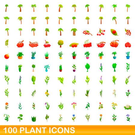 100 plant icons set, cartoon style Stock Illustratie
