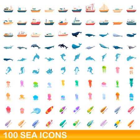 100 sea icons set, cartoon style Stock Illustratie