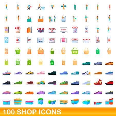 100 shop icons set, cartoon style