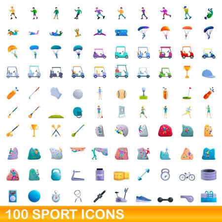 100 sport icons set, cartoon style Stock Illustratie