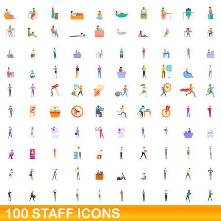 100 staff icons set, cartoon style